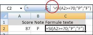 an apostrophe deactivates the formula
