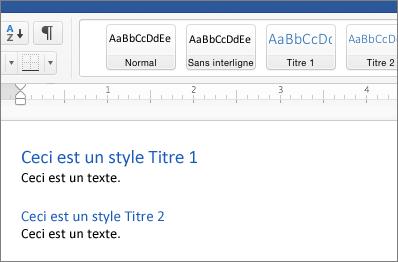 Exemples de styles Titre1 et Titre2 dans un document