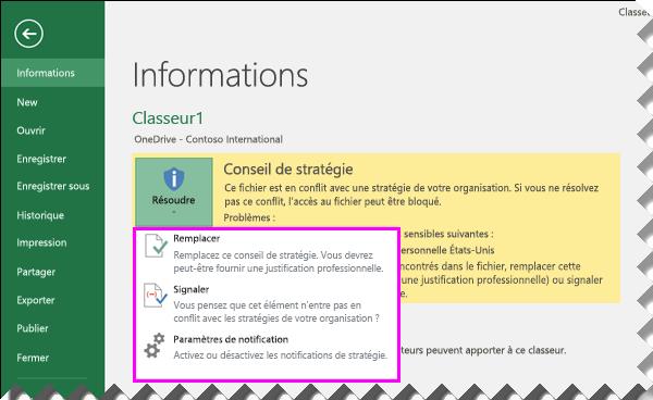 Options relatives aux conseils de stratégie en mode Backstage dans Excel2016