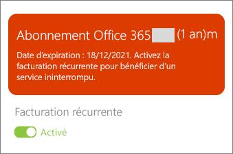 Vérifiez les détails de votre abonnement Office 365