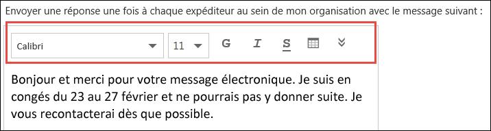 Message de réponse automatique dans Outlook sur le web