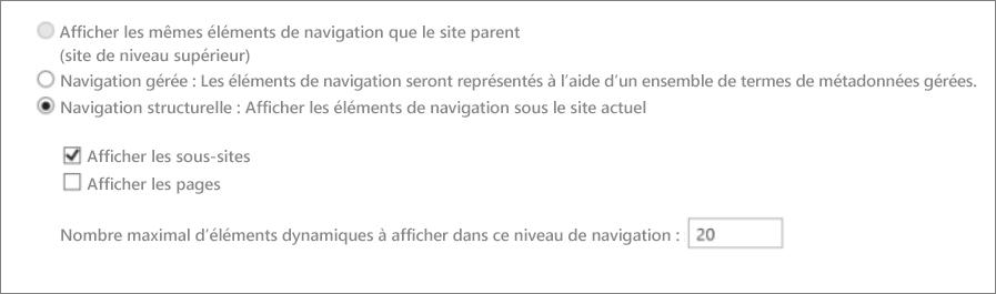 Capture d'écran montrant des sous-sites