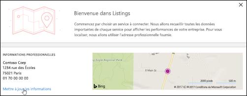 Capture d'écran: Mettre à jour le profil d'entreprise dans le tableau de bord de RéférencementsMicrosoft