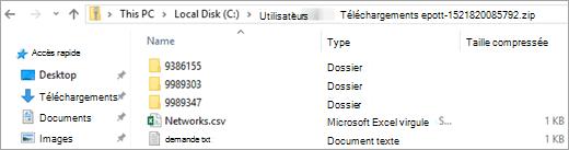 Chaque réseau possède son propre dossier, avec l'ID de réseau
