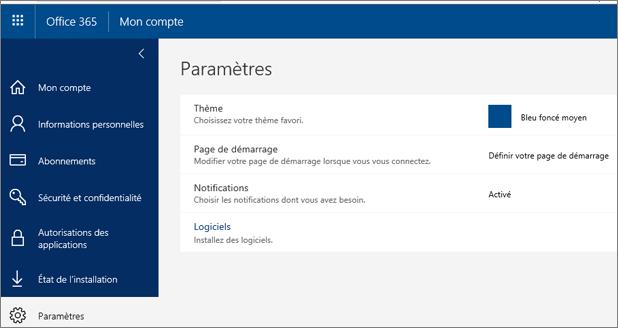 Page Paramètres d'Office 365