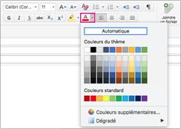Sélecteur de couleurs de police dans Outlook pour Mac