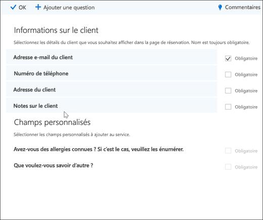 Capture d'écran: affichant la liste principale des questions personnalisées.