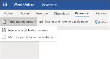 Document Word avec options Table des matières affichées