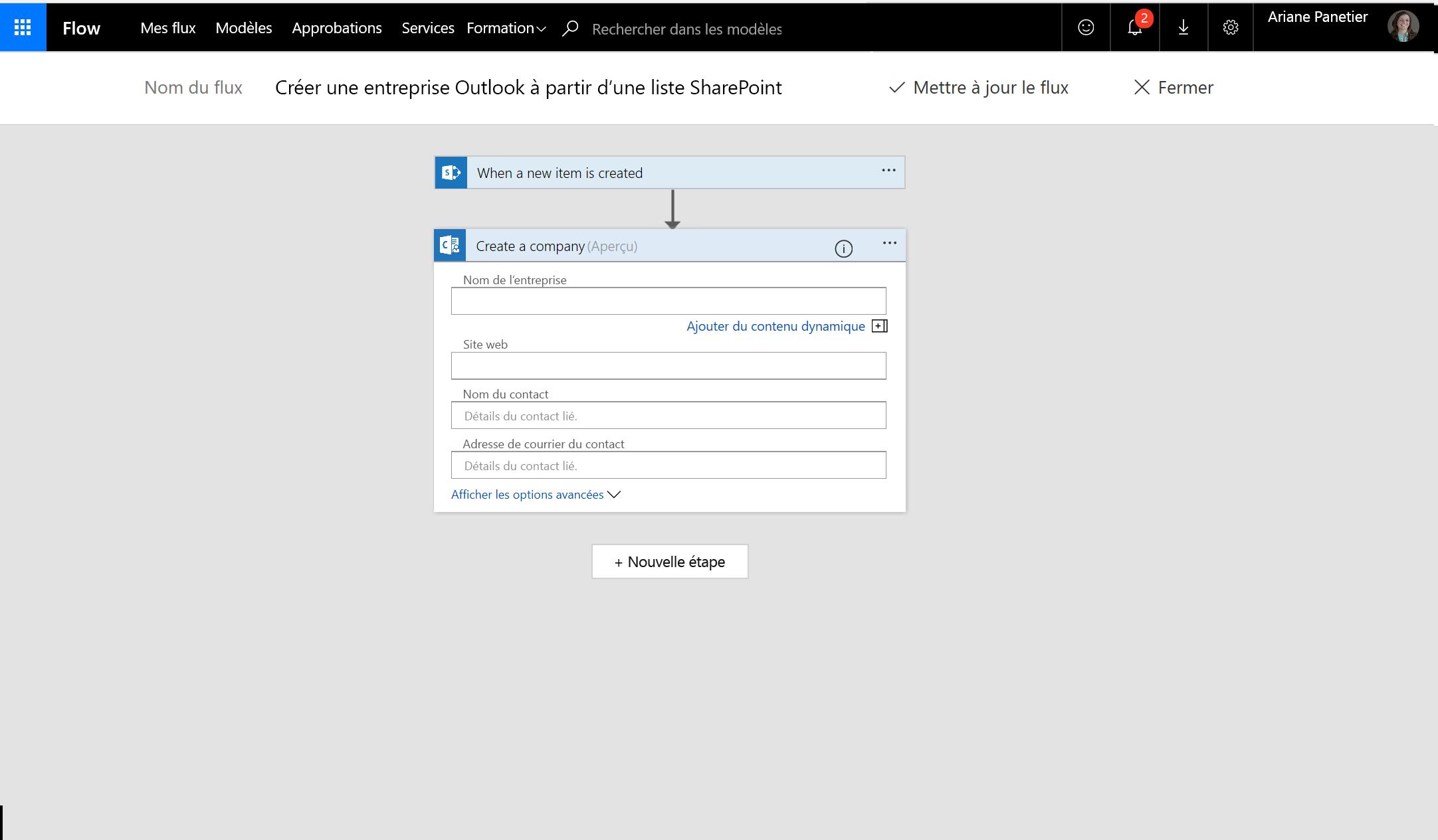 Capture d'écran de la création d'entreprise à l'aide de flux