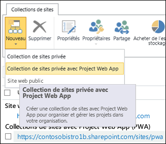 Nouveau > Collection de sites privée avec Project WebApp