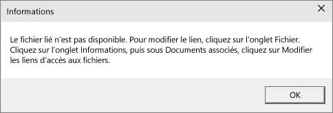 Erreur de fichier lié dans PowerPoint