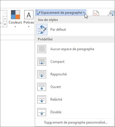 Capture d'écran de l'onglet Création dans Word, montrant le menu Espace entre paragraphes