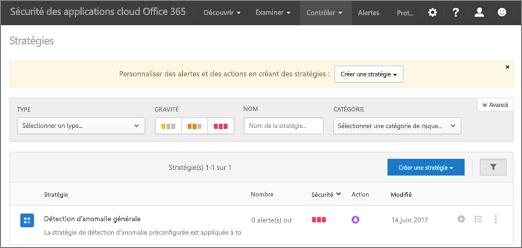 Lorsque vous accédez au portail Office 365 Cloud application sécurité, précédez la page stratégies