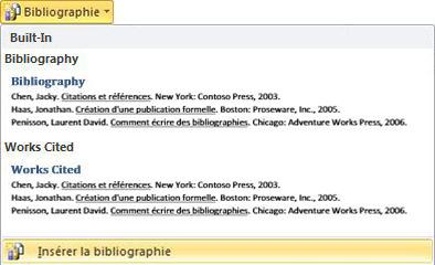 Cliquer sur Insérer la bibliographie