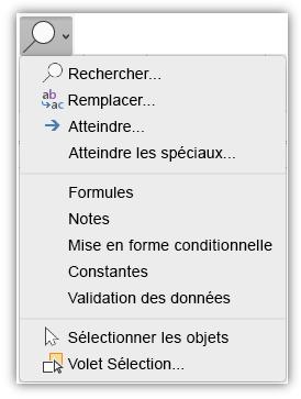 Capture d'écran illustrant le menu Rechercher et sélectionner qui a été ajouté à l'onglet Accueil du ruban.