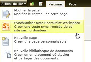 Synchroniser avec SharePoint Workspace.