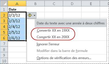 Commandes de conversion des dates