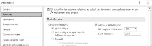 Capture d'écran des paramètres de calcul itératif