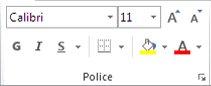 Groupe Police de l'onglet Accueil dans le ruban Excel 2010