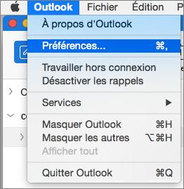 Menu Outlook avec mise en évidence de Préférences