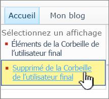 SharePoint2010 - Lien Corbeille second niveau
