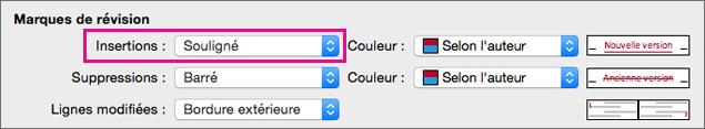 Dans la boîte de dialogue Suivi des modifications, le type de marques de révision Insertions est mis en évidence.