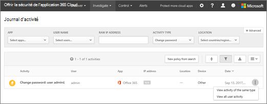 Dans Office 365 Cloud application sécurité, cliquez sur examiner > journal d'activité.