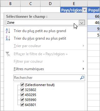 Menu Filtrer, menu Valeur d'affichage, champs des types de données liés répertoriés