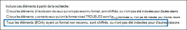 Utilisez l'option d'exportation un troisième pour exporter uniquement les éléments non indexés