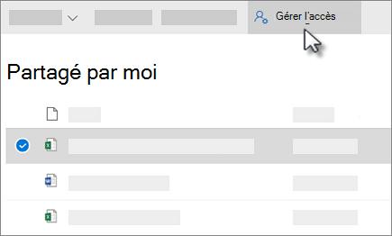 Capture d'écran du bouton gérer l'accès dans l'affichage partagé par moi de OneDrive entreprise