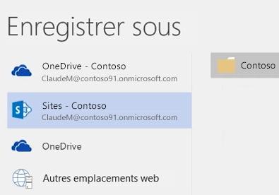 Enregistrement d'un document OneDrive Entreprise dans la bibliothèque de sites d'équipe
