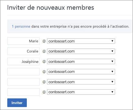 Le domaine principal apparaît lorsque vous invitez des utilisateurs à rejoindre votre groupe Yammer