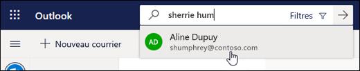 Capture d'écran de la barre de recherche