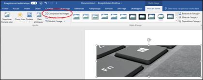 Bouton Compresser l'image dans le groupe Ajuster dans l'onglet Format des Outils Image