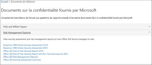Affiche la page Certification du service: Approuver des documents fournis par Microsoft.