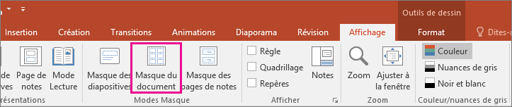 Mode Masque du document dans PowerPoint