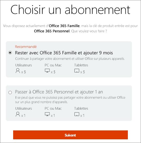 Choisissez de continuer à utiliser Office365 Famille ou de passer à un abonnement Office365 Personnel.