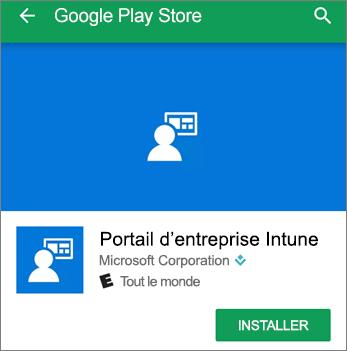 Capture d'écran montrant le bouton Installer pour le portail d'entreprise Intune dans Google Play Store