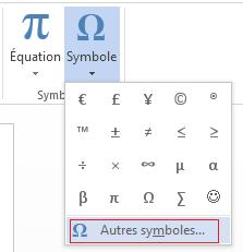 Zone Symbole, cliquez sur Autres symboles.