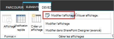 Modifier le bouton mode avec liste déroulante ouverte