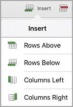 menu Insertion de tableau iPad