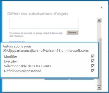 Capture d'écran de la boîte de dialogue Définir les autorisations de l'objet dans SharePointOnline. Cette boîte de dialogue permet de définir les autorisations d'un type de contenu externe spécifique.