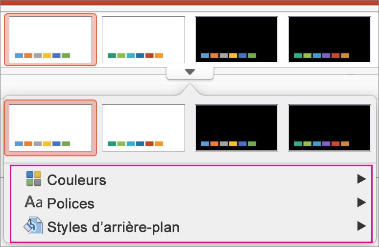 PowerPoint pour Mac – Galerie des variantes