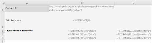 Exemple de fonction FILTERXML