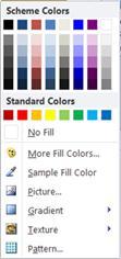 Options de remplissage de forme WordArt dans Publisher 2010
