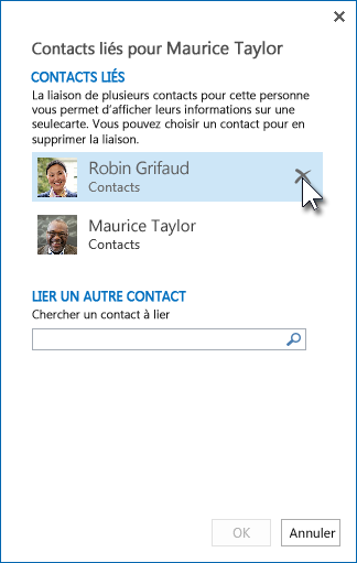 Contacts incorrectement liés