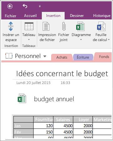 Capture d'écran d'une feuille de calcul incorporée dans OneNote2016