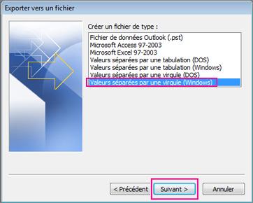 Sélectionnez Valeurs séparées par des virgules (Windows).