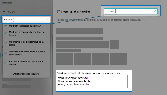 Page Paramètres pour le curseur de texte