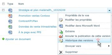 Liste déroulante associée à un fichier SharePoint. L'option Historique des versions est sélectionnée.